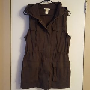 NWOT Khaki Hooded Vest